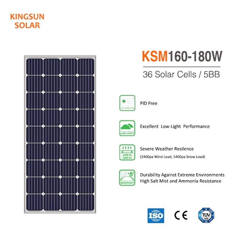 160W-180W Monocrystalline Silicon Solar Panel / mono panel